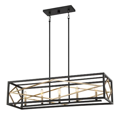 buy online decbc 794b7 Platform 12-in W 5-Light Black with Gold Kitchen Island Light with Shade
