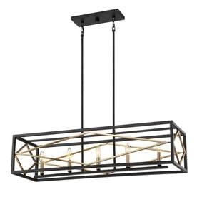 Quoizel Platform 12 In W 5 Light Black With Gold Kitchen Island Light With