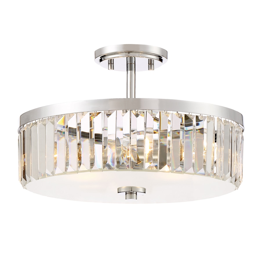 Quoizel Valentina 15.5-in W Polished chrome Clear Glass Semi-Flush Mount Light