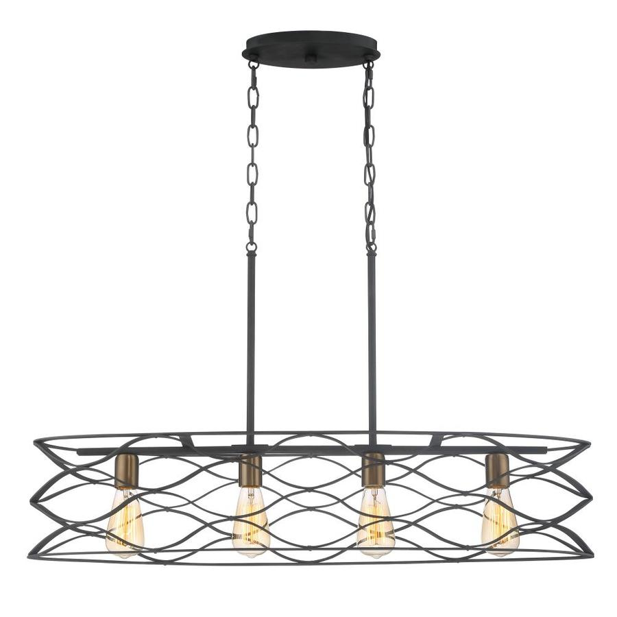 Kitchen island lighting black - Quoizel Unity 11 In W 4 Light Mottled Black With Gold Casual Transitional