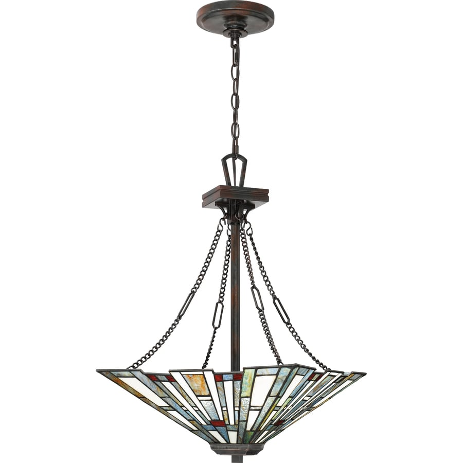 Quoizel Maybeck Valiant Bronze Traditional Stained Glass Bowl Pendant Light In The Pendant Lighting Department At Lowes Com