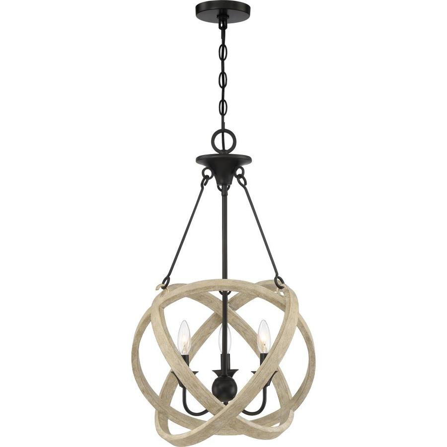 Quoizel Plymouth Matte Black With Faux Natural Wood Farmhouse Geometric Pendant Light In The Pendant Lighting Department At Lowes Com