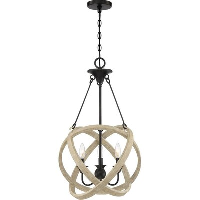 Plymouth Matte Black With Faux Natural Wood Multi Light Farmhouse Cage Pendant