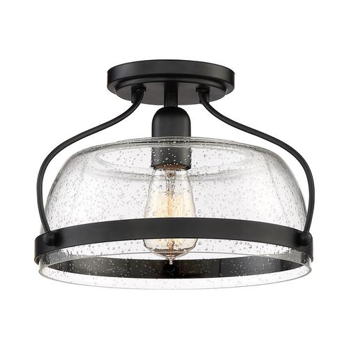 Black Farmhouse Semi Flush Mount Light