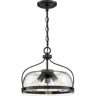 Henderson Matte Black Farmhouse Seeded Glass Bowl Pendant Light
