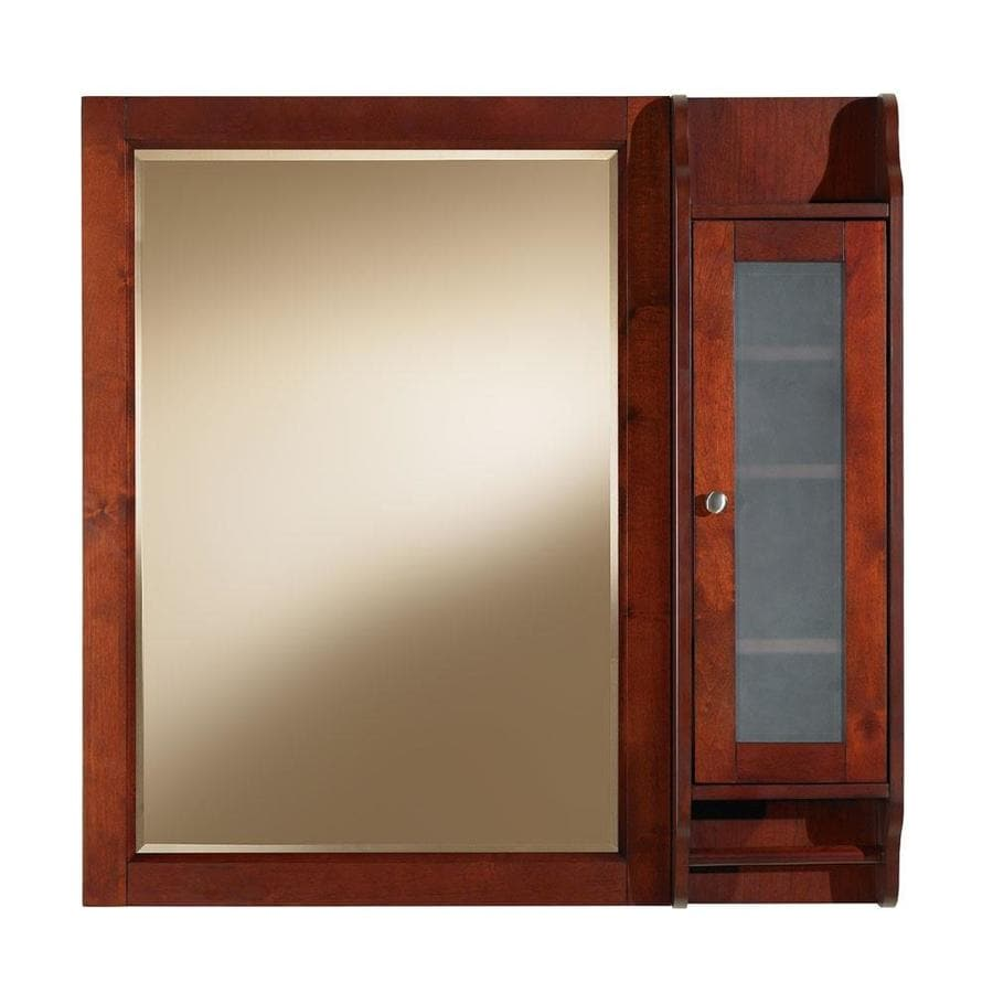 allen roth largo 36 in x 36 in rectangle surface cherry wood medicine - Lowes Bathroom Medicine Cabinets Mirrors