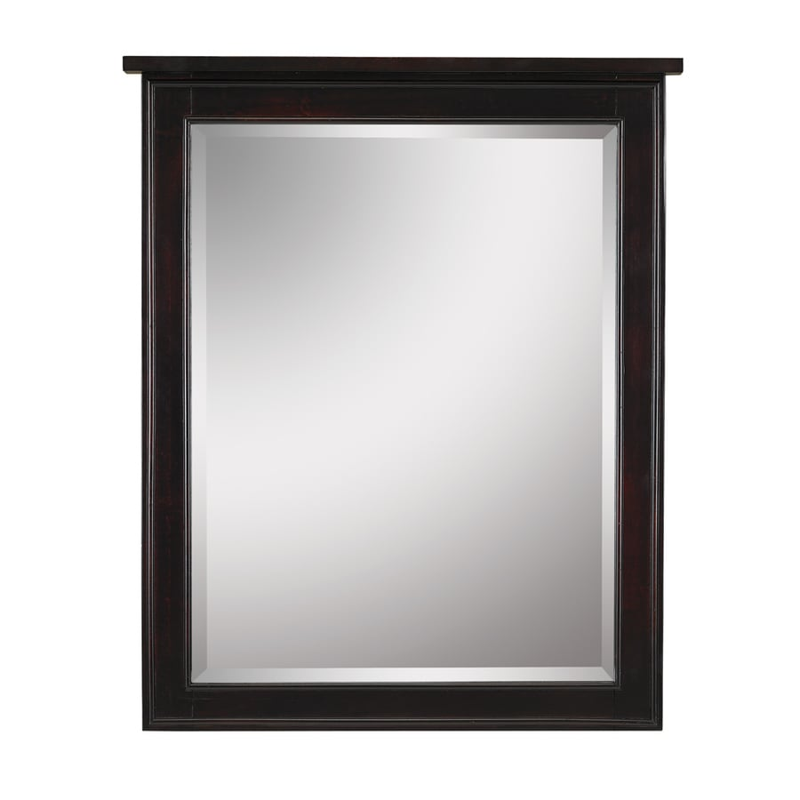 Shop Allen Roth Hagen 28 In W X 34 In H Espresso Rectangular Bathroom Mirror At