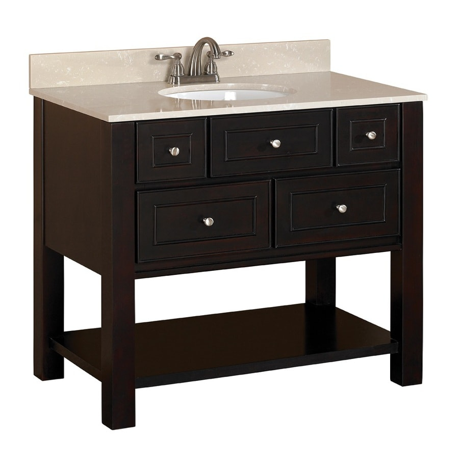 Allen Roth Hagen Espresso Undermount Single Sink Birch Poplar Bathroom Vanity With Engineered Stone Top Common 36 In X 21 In Actual 36 In X 21 In In The Bathroom Vanities With Tops Department At Lowes Com