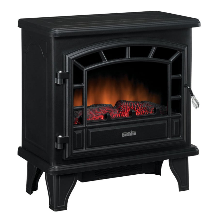 Duraflame 25-in W 4,600-BTU Black Metal Corner or Wall Mount Electric Stove with Thermostat and Remote Control