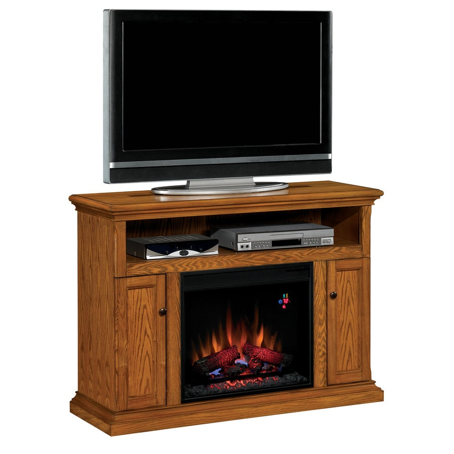 Chimney Free 47.25-in W 4,600-BTU Oak Wood Fan-Forced Electric Fireplace with Thermostat and Remote Control
