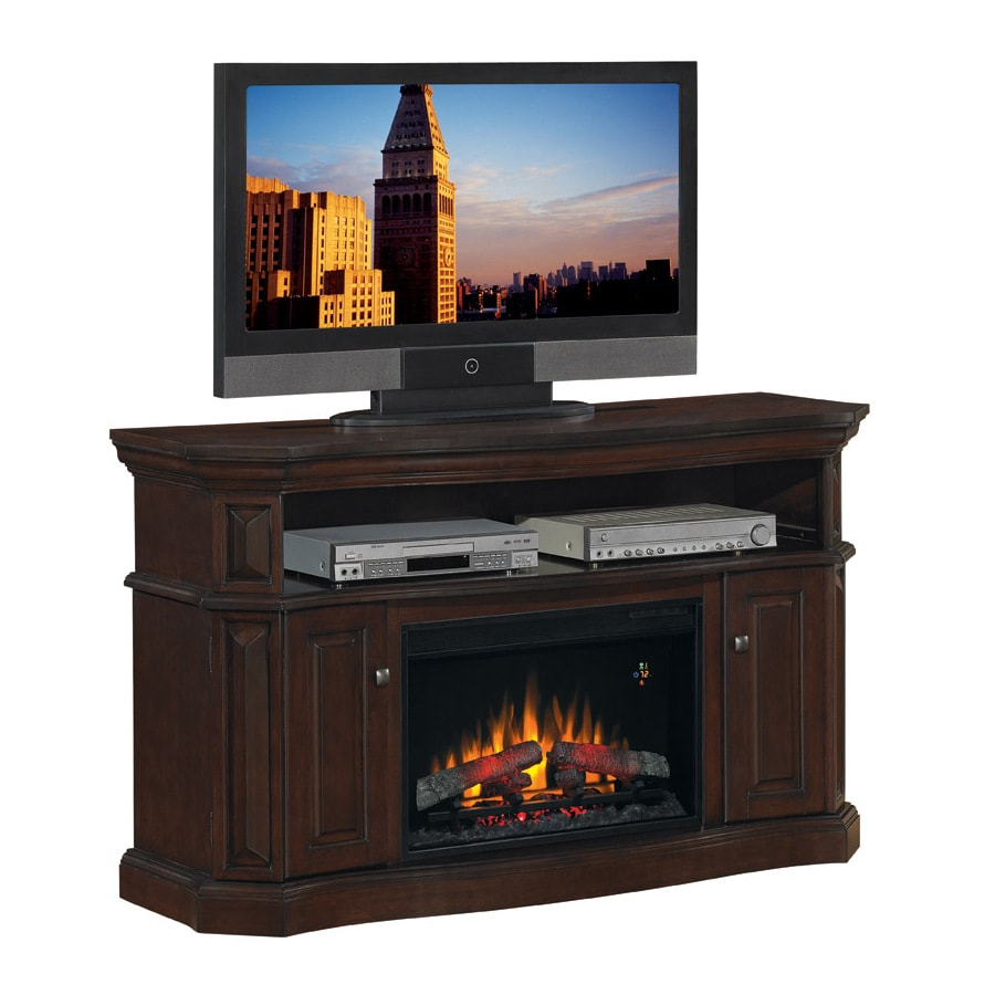 Chimney Free 60-in W 4,600-BTU Walnut Wood and Metal Wall Mount Electric Fireplace with Thermostat and Remote Control