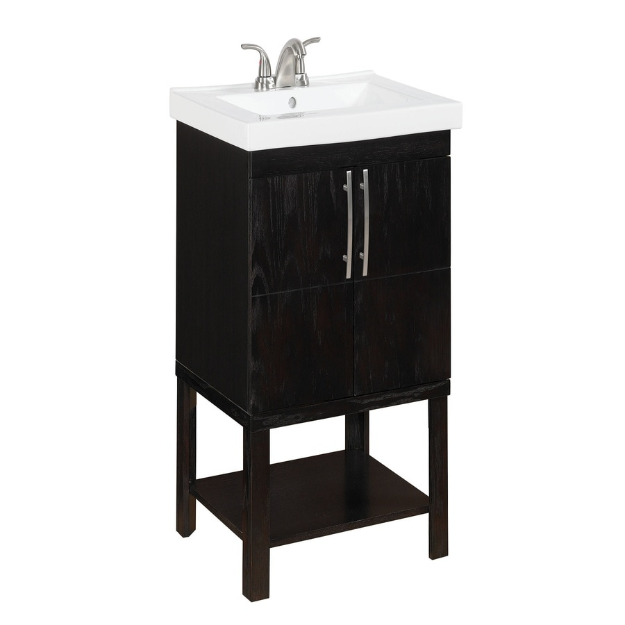 Style Selections Foley Espresso Integral Single Sink Oak Bathroom Vanity  With Vitreous China Top (Common