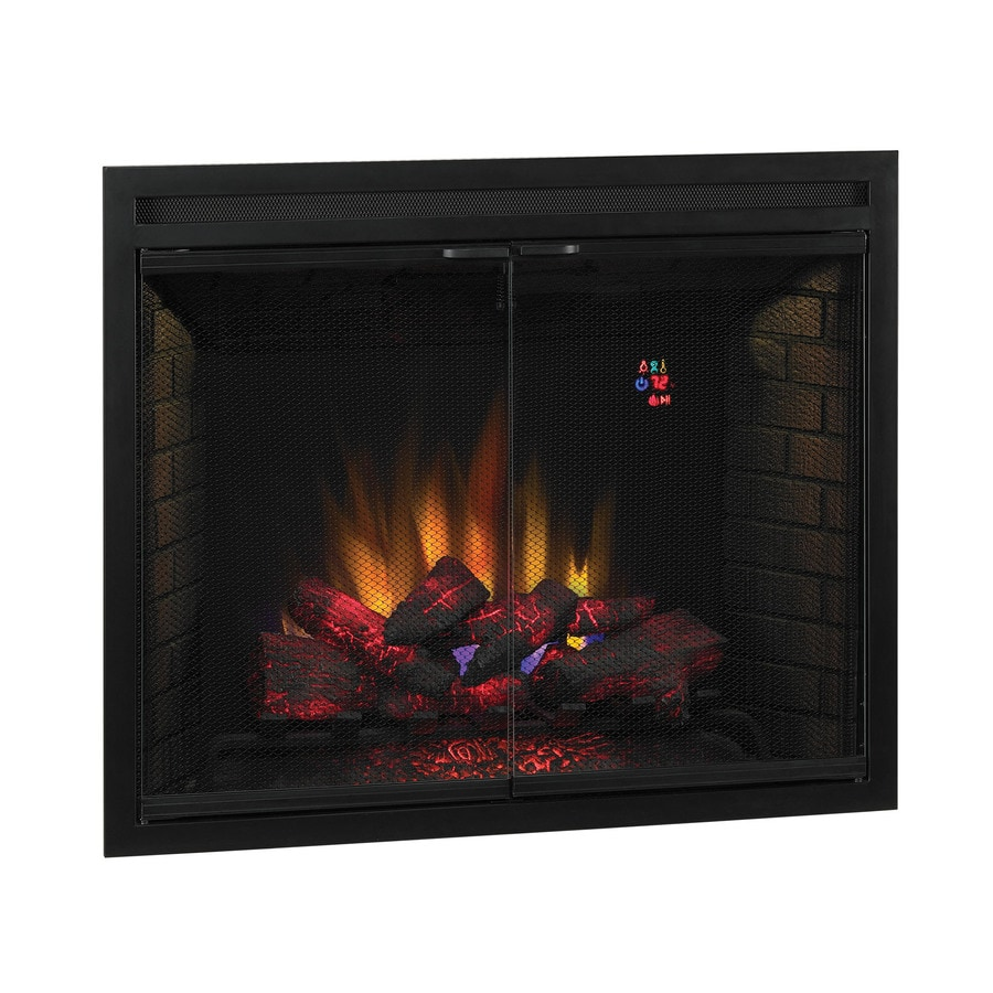 38.9-in W 9,500-BTU Black Metal Wall-Mount Fan-Forced Electric Fireplace with Thermostat and Remote Control