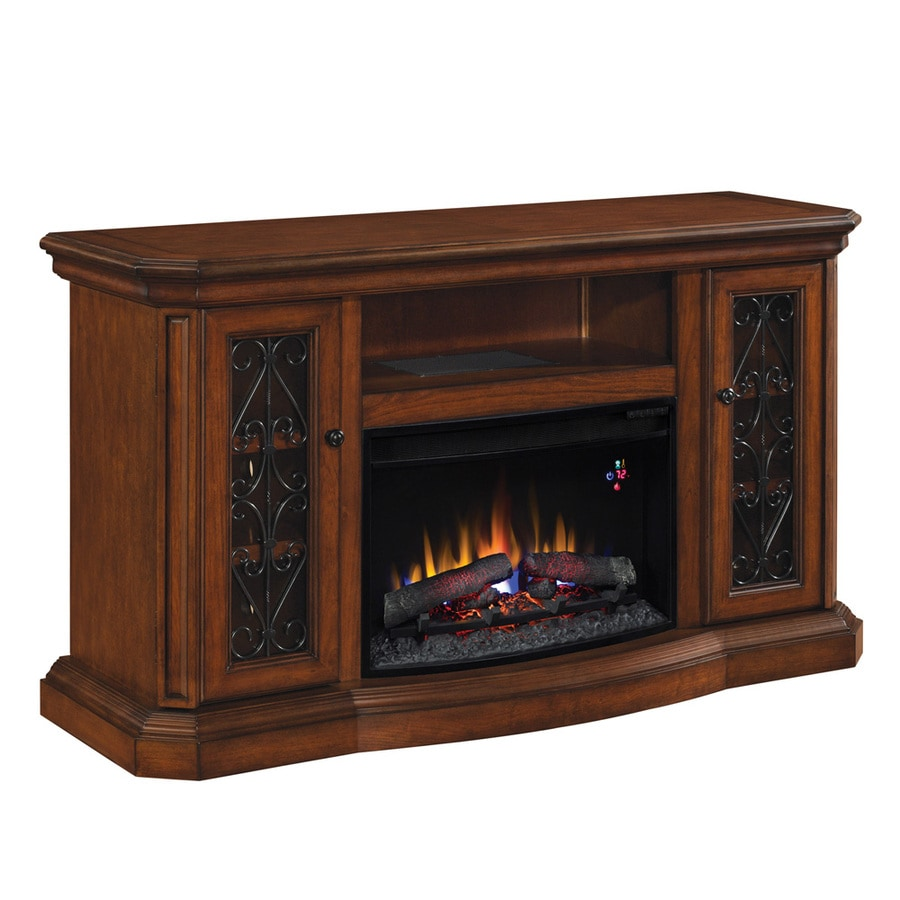 allen + roth 60-in W 4,600-BTU Sable Wood and Metal Wall Mount Electric Fireplace with Thermostat and Remote Control