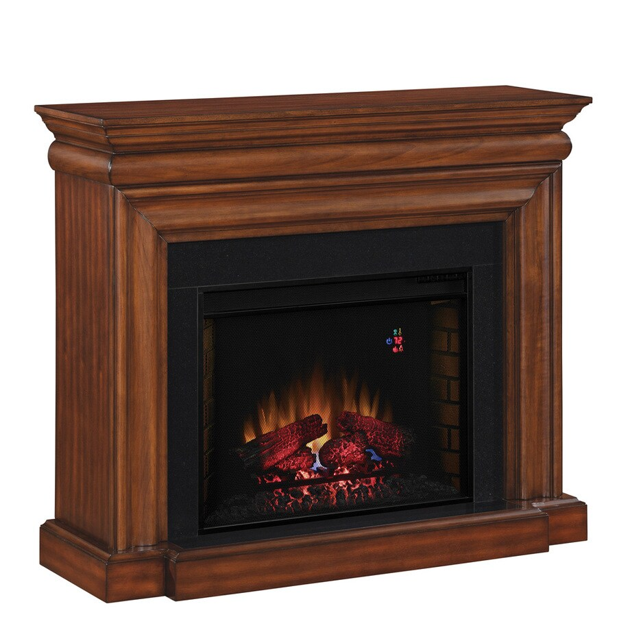 allen + roth 50-in W 4,600-BTU Java Wood and Metal Wall Mount Electric Fireplace with Thermostat and Remote Control