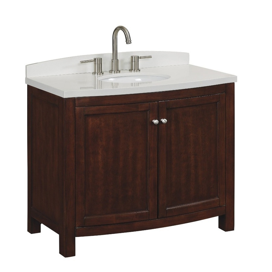 allen + roth Moravia Sable Undermount Single Sink Birch/Poplar Bathroom Vanity with Engineered Stone Top (Common: 36-in x 20-in; Actual: 36-in x 18-in)