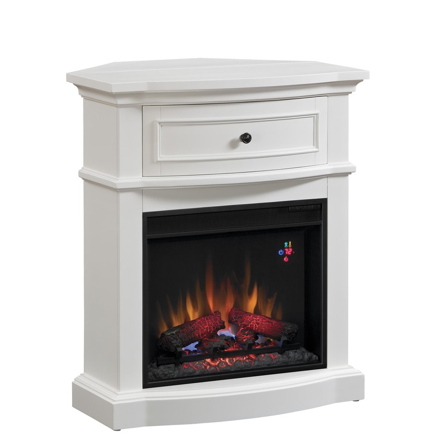 Chimney Free 32-in W 4,600-BTU White Wood and Metal Corner or Wall Mount Electric Fireplace with Thermostat and Remote Control