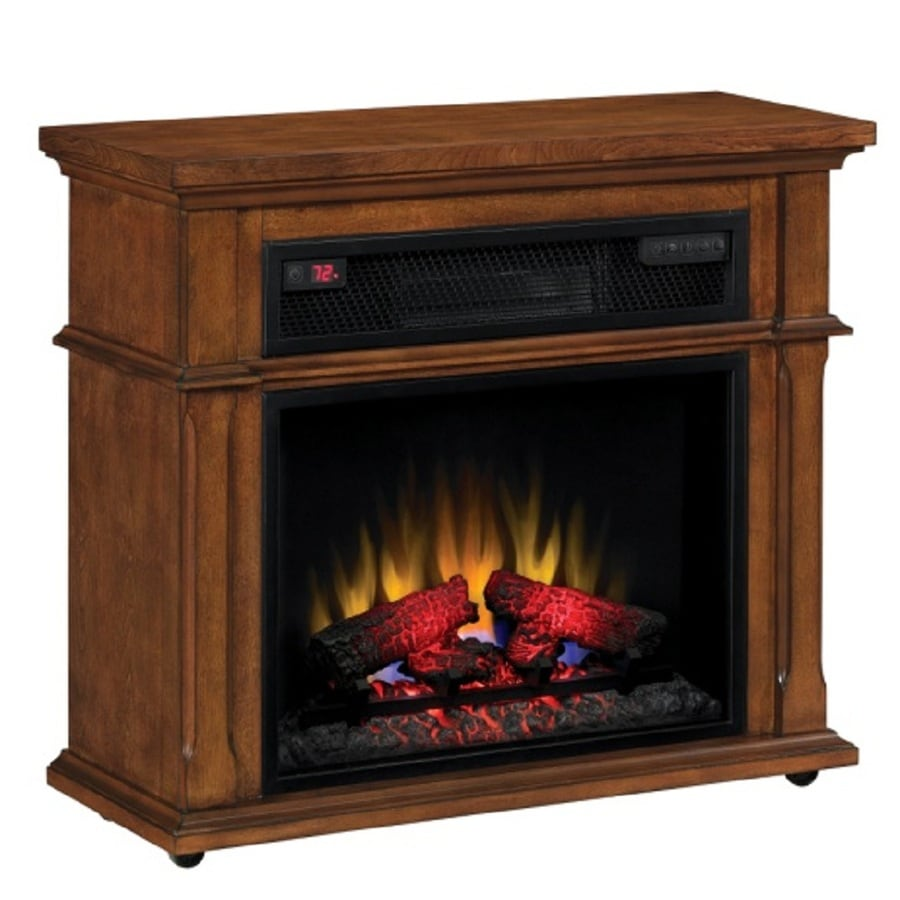 Shop Duraflame 33 In W 5 200 Btu Vintage Mahogany Wood Infrared Quartz Electric Fireplace With
