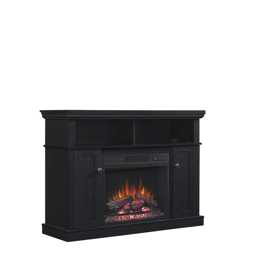 Shop Style Selections W 4 600 Btu Black Wood Corner Fan Forced Electric Fireplace With