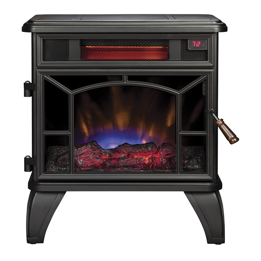 Style Selections 20.98 In W 5200 BTU Black Metal Infrared Quartz Electric  Stove With
