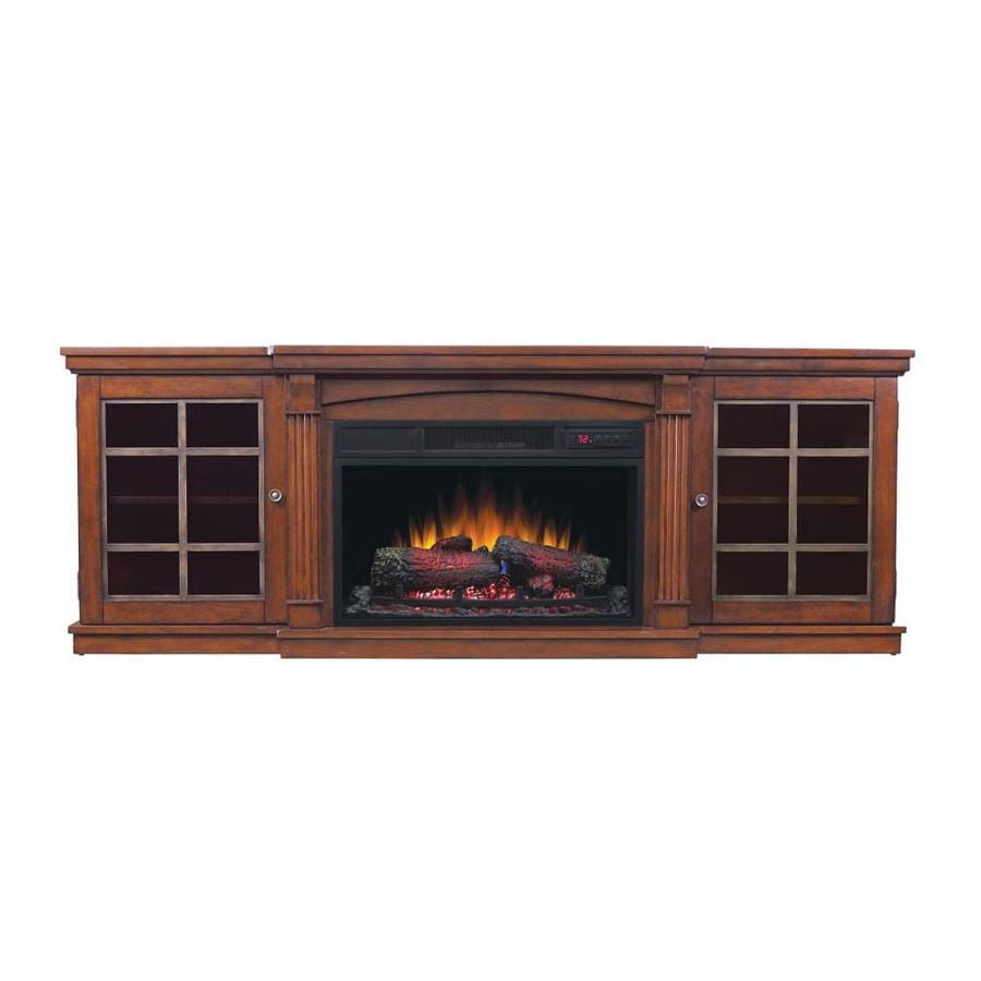 Shop style selections 72-in w 5200-btu cherry wood veneer infrared quartz electric fireplace media mantel with thermostat and remote at Lowes.com