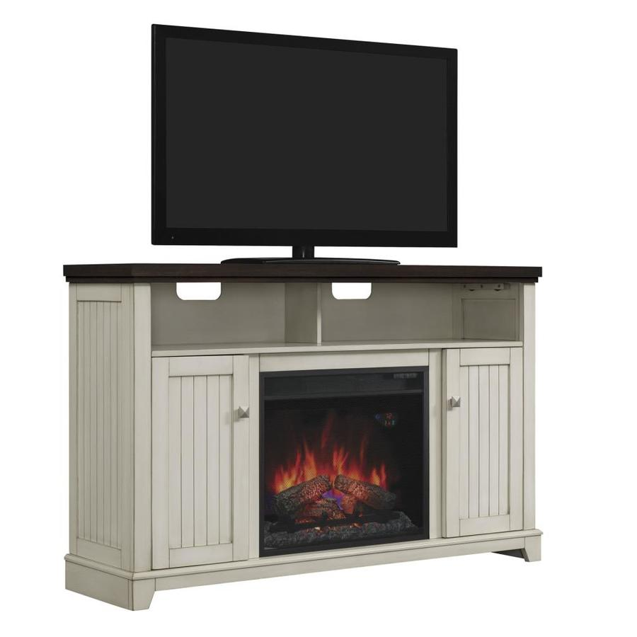 Chimney Free 56-in W 4,600-BTU White Wood Veneer Fan-Forced Electric Fireplace with Thermostat with Remote Control