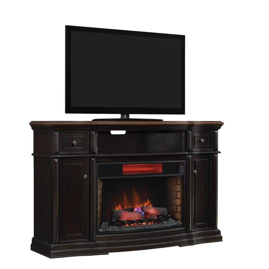 Style Selections 64-in W 5200-BTU Coffee Black Wood Veneer Infrared Quartz Electric Fireplace Media Mantel with Thermostat and Remote