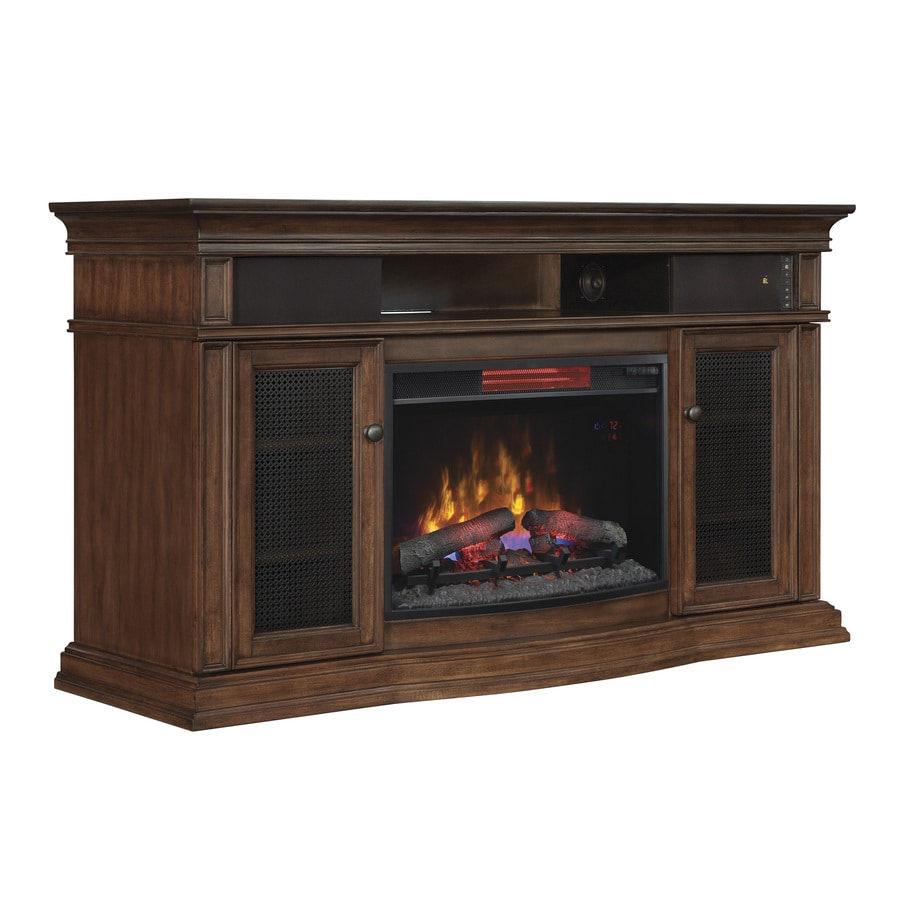 Style Selections 59-in W 5200-BTU Walnut Wood and Wood Veneer Infrared Quartz Electric Fireplace Media Mantel with Thermostat with Remote Control