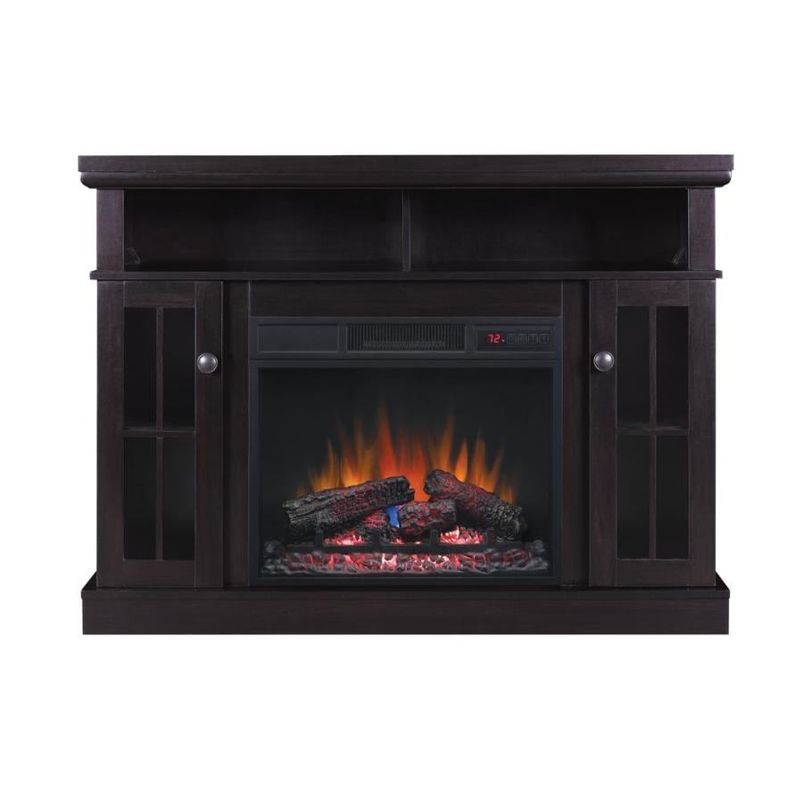 Chimney Free 47.75-in W 4600-BTU Espresso MDF Fan-Forced Electric Fireplace Media Mantel with Thermostat and Remote Control at Lowe