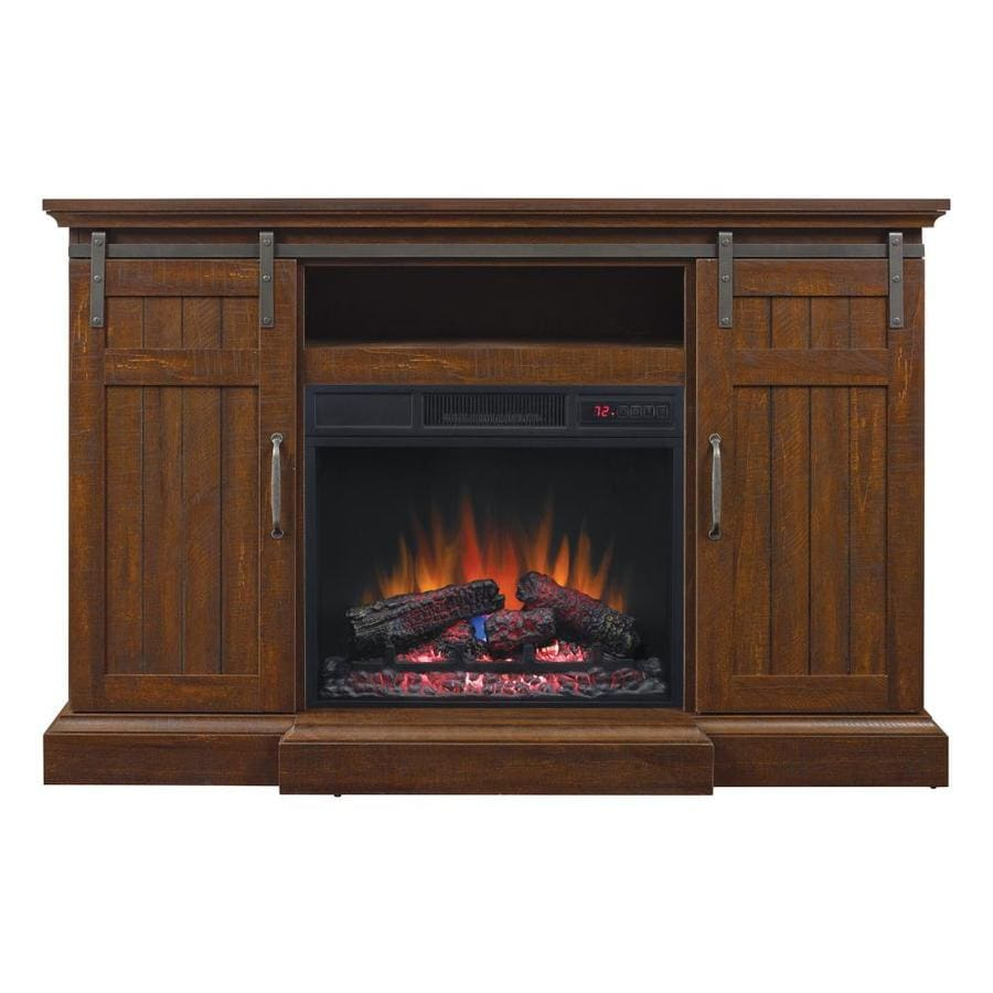 Shop Duraflame 54 In W 4600 Btu Saw Cut Espresso Mdf Fan Forced Electric Fireplace Media Mantel