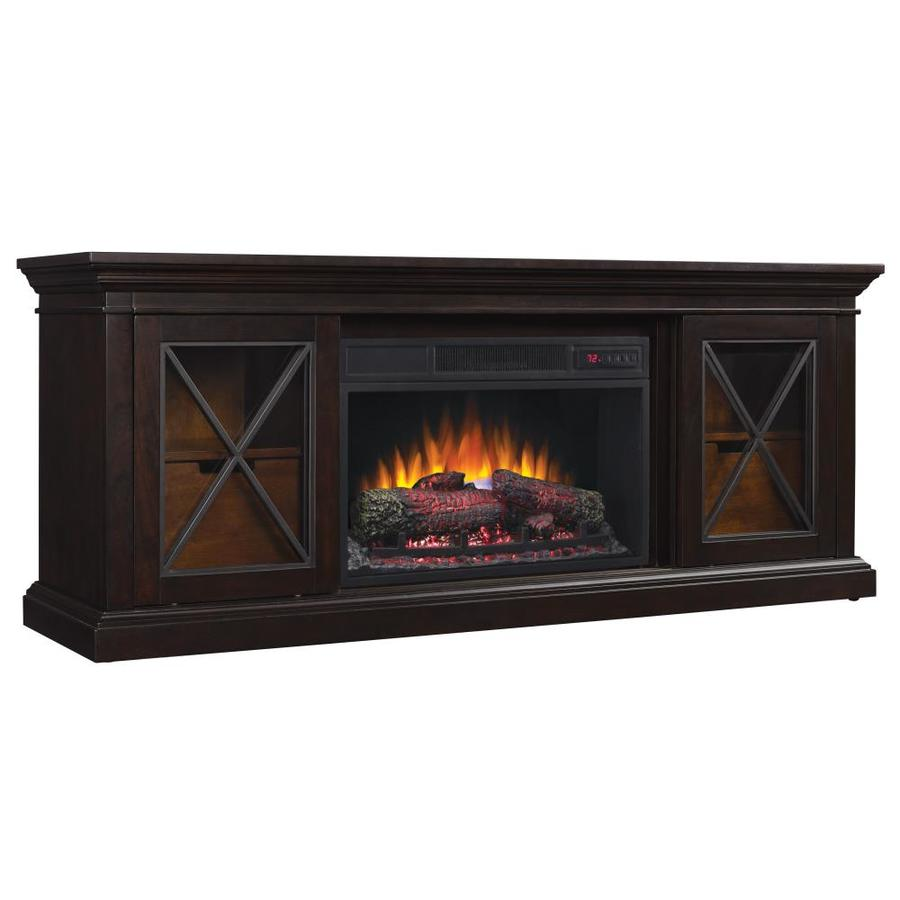 Chimney Free 64.25-in W 5200-BTU Black Wood Veneer Infrared Quartz Electric Fireplace Media Mantel with Thermostat and Remote at Lowe