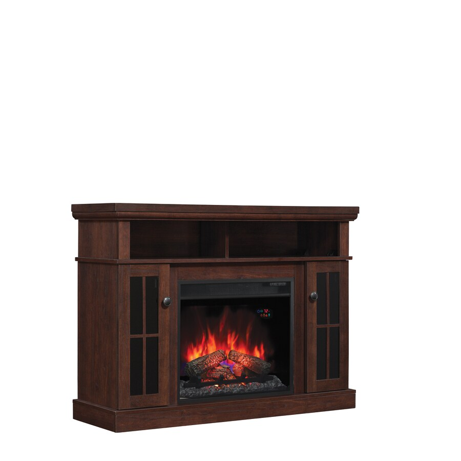 600-BTU Antique Brown Cherry Paper Laminate Fan-Forced Electric Fireplace Media Mantel with Thermostat and Remote at Lowes.com