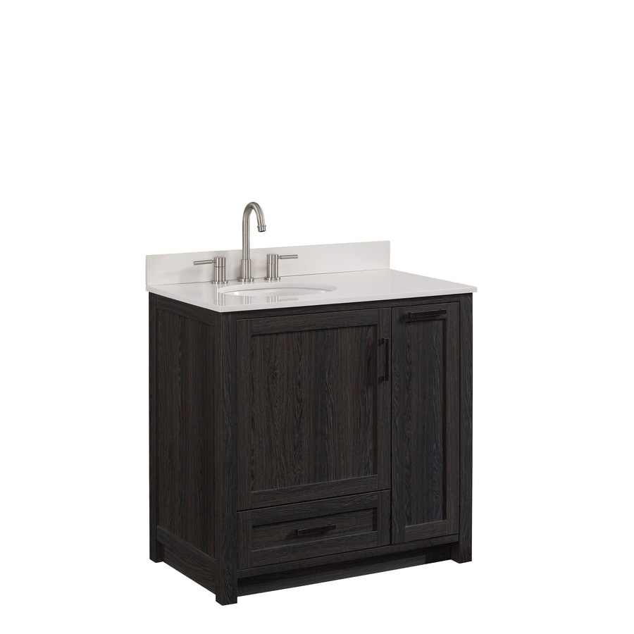 Style Selections Goodson Black Walnut Single Sink Vanity With White Engineered Stone Top Common