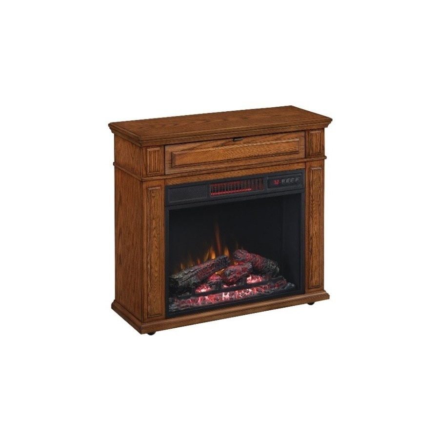 Shop duraflame 31-in w 5200-btu oak wood flat wall infrared quartz electric fireplace with thermostat and remote at Lowes.com