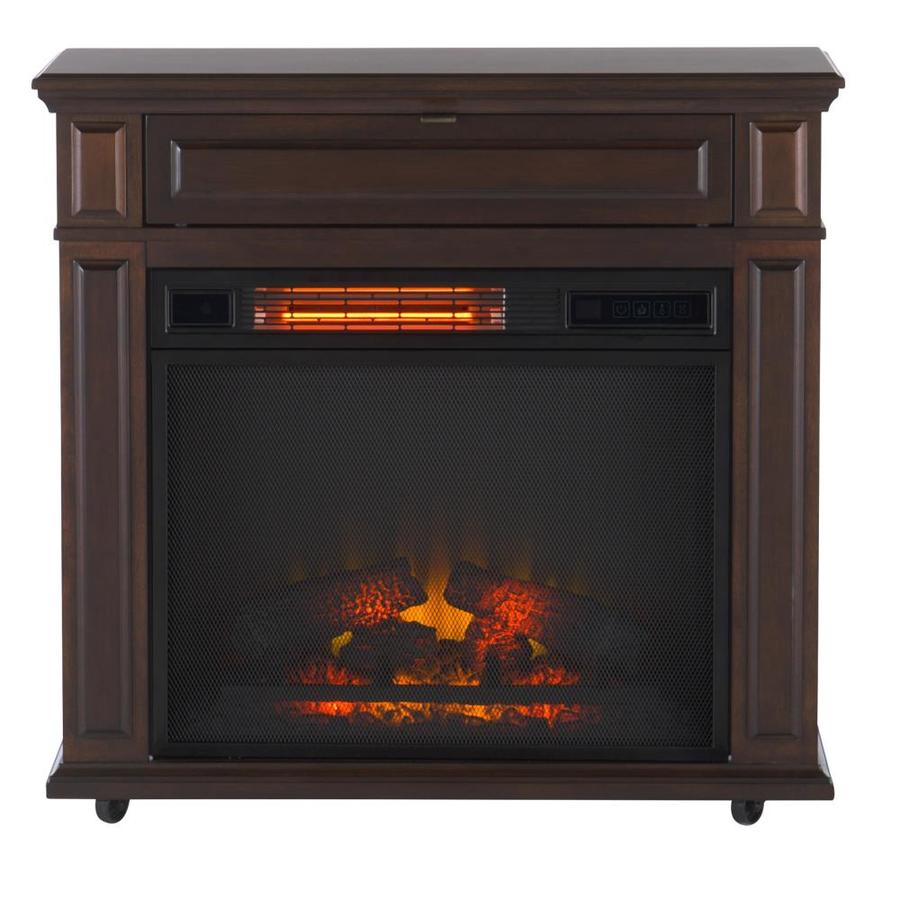 Duraflame 31-in W 5200-BTU Cherry Wood and Wood Veneer Infrared Quartz Electric Fireplace with Thermostat with Remote Control