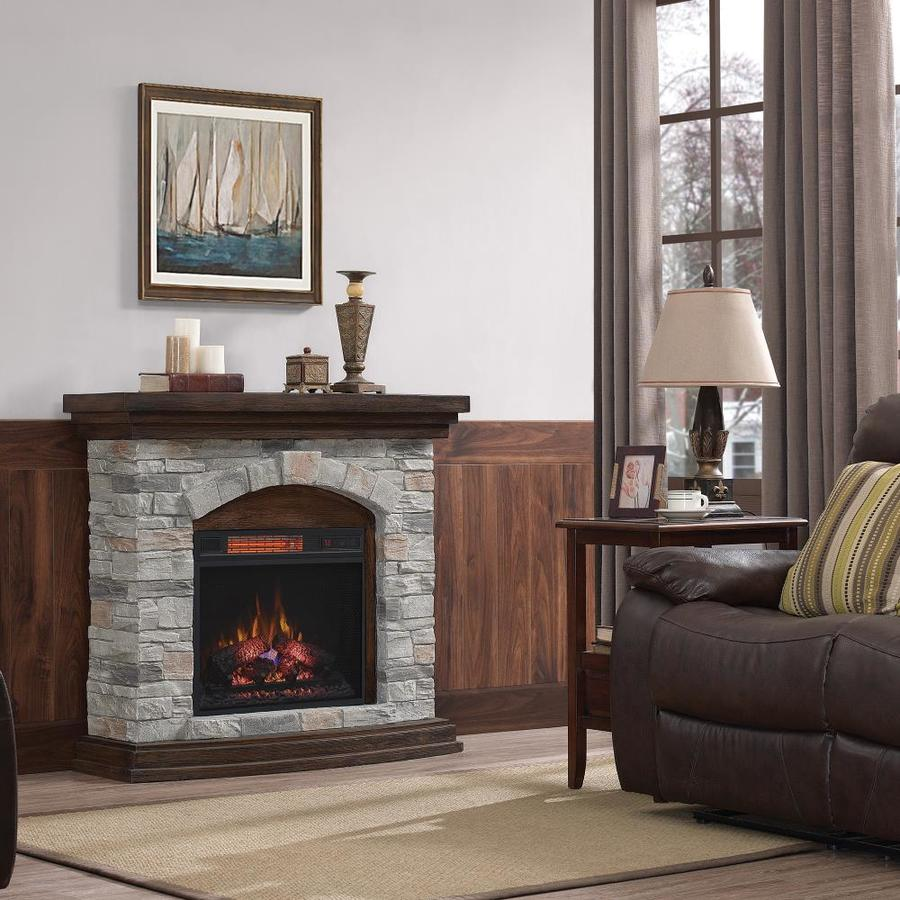 Shop duraflame 45-in w 5200-btu aged coffee mdf flat wall infrared quartz electric fireplace media mantel with thermostat and remote in the electric fireplaces section of Lowes.com