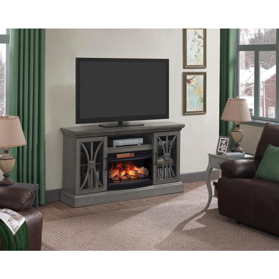 Shop duraflame 62-in w 5200-btu harbor gray wood flat wall infrared quartz electric fireplace media mantel with thermostat and remote in the electric fireplaces section of Lowes.com