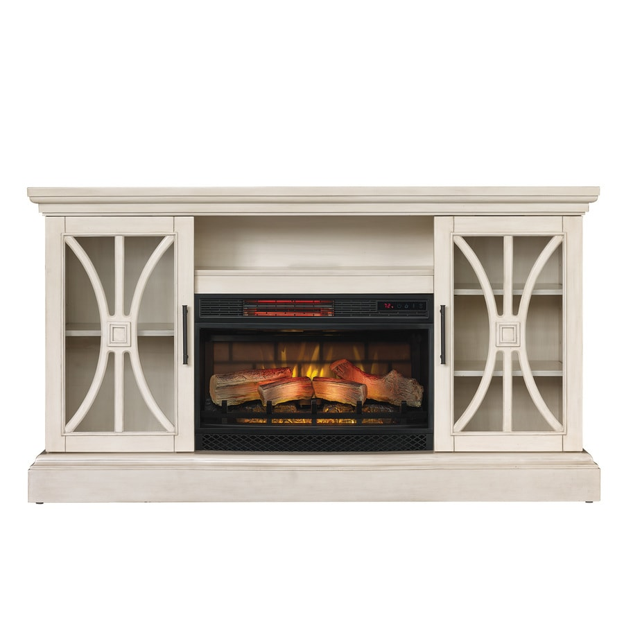 Shop duraflame 62-in w 5200-btu weathered white wood flat wall infrared quartz electric fireplace media mantel with thermostat and remote in the electric fireplaces section of Lowes.com