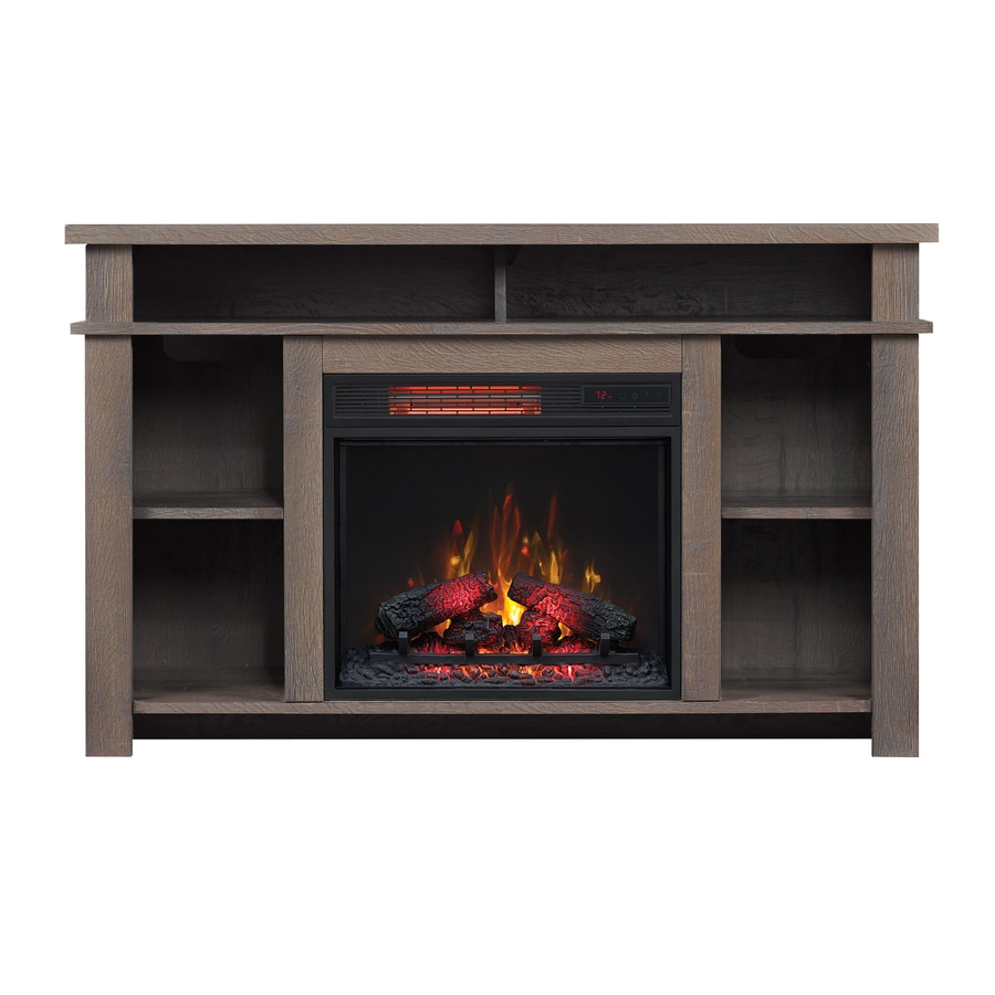 Shop duraflame 44-in w 5200-btu umber oak mdf flat wall infrared quartz electric fireplace media mantel with thermostat and remote in the electric fireplaces section of Lowes.com