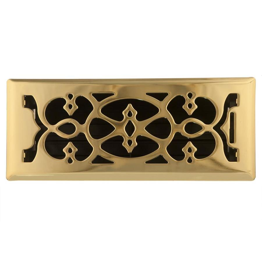 Accord Select Victorian Polished Brass Steel Floor Register (Rough Opening: 10.0-in x 4.0-in; Actual: 11.42-in x 5.4-in)
