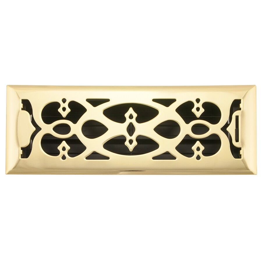Accord Select Victorian Polished Brass Steel Floor Register (Rough Opening: 12-in x 4-in; Actual: 13.39-in x 5.36-in)