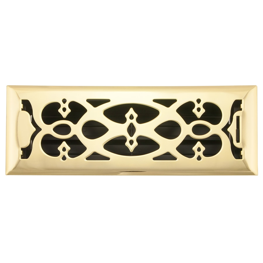 Accord Select Victorian Polished Brass Steel Floor Register (Rough Opening: 12.0-in x 4.0-in; Actual: 13.39-in x 5.36-in)