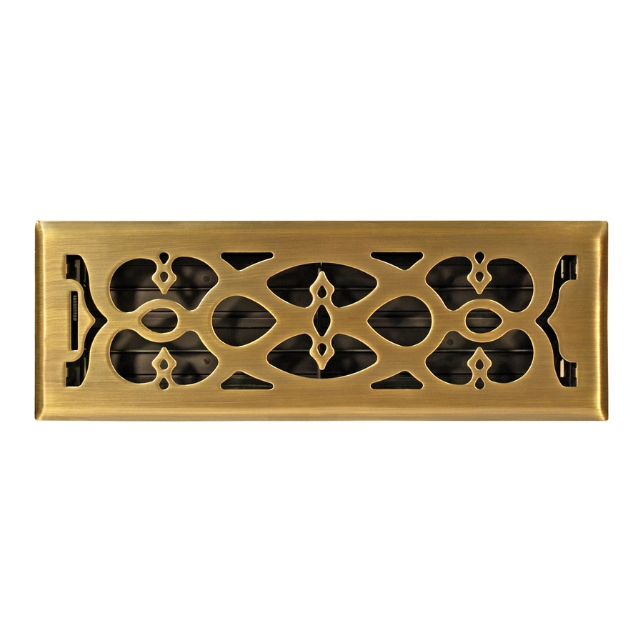 Accord Select Victorian Antique Brass Steel Floor Register (Rough Opening: 12.0-in x 4.0-in; Actual: 13.39-in x 5.36-in)