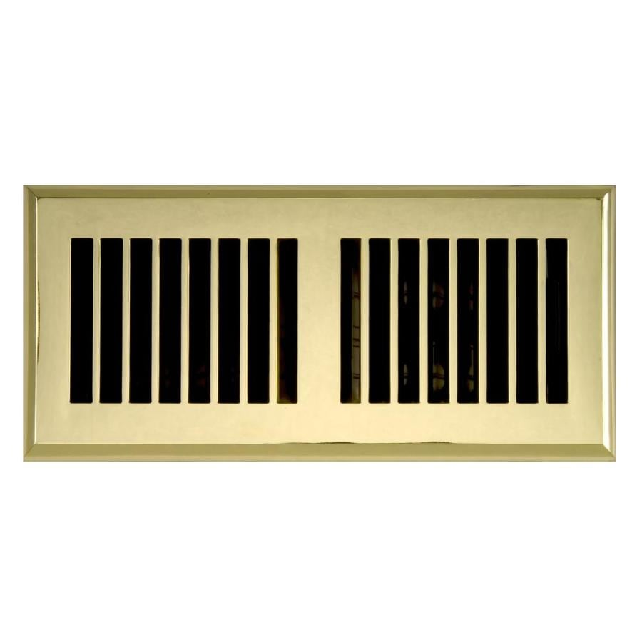 Accord Select Louvered Polished Brass ABS Resin Floor Register (Rough Opening: 10-in x 4-in; Actual: 11.42-in x 5.37-in)