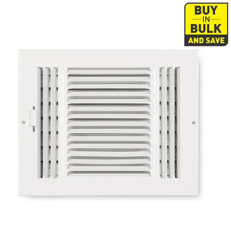 Accord Ventilation 203 Series White Steel Sidewall/Ceiling Register (Rough Opening: 6-in x 10-in; Actual: 11.73-in x 7.71-in)