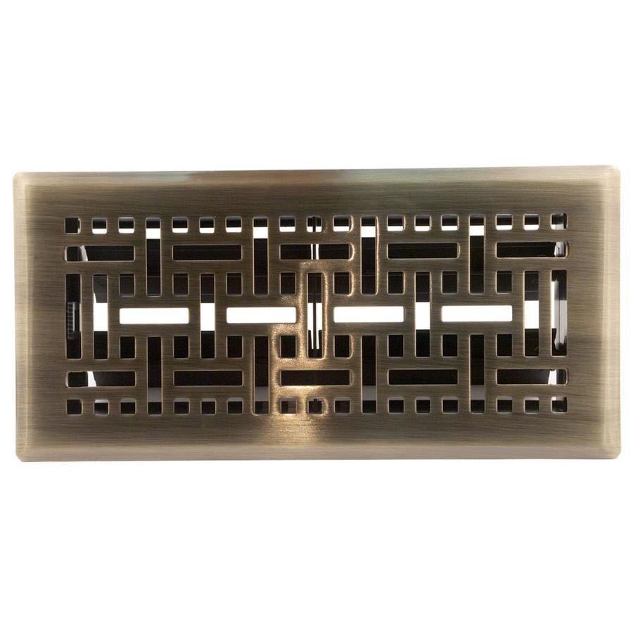 Accord Select Wicker Antique Brass Steel Floor Register (Rough Opening: 10.0-in x 4.0-in; Actual: 11.43-in x 5.36-in)