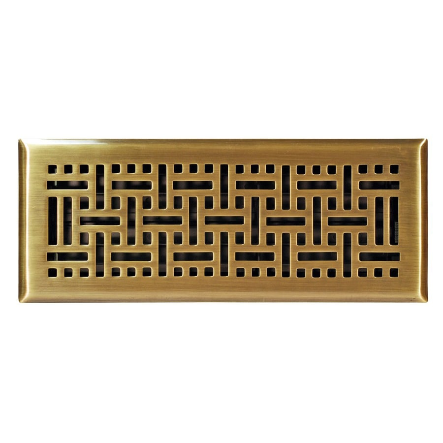 Accord Select Wicker Antique Brass Steel Floor Register (Rough Opening: 12-in x 4-in; Actual: 13.37-in x 5.36-in)