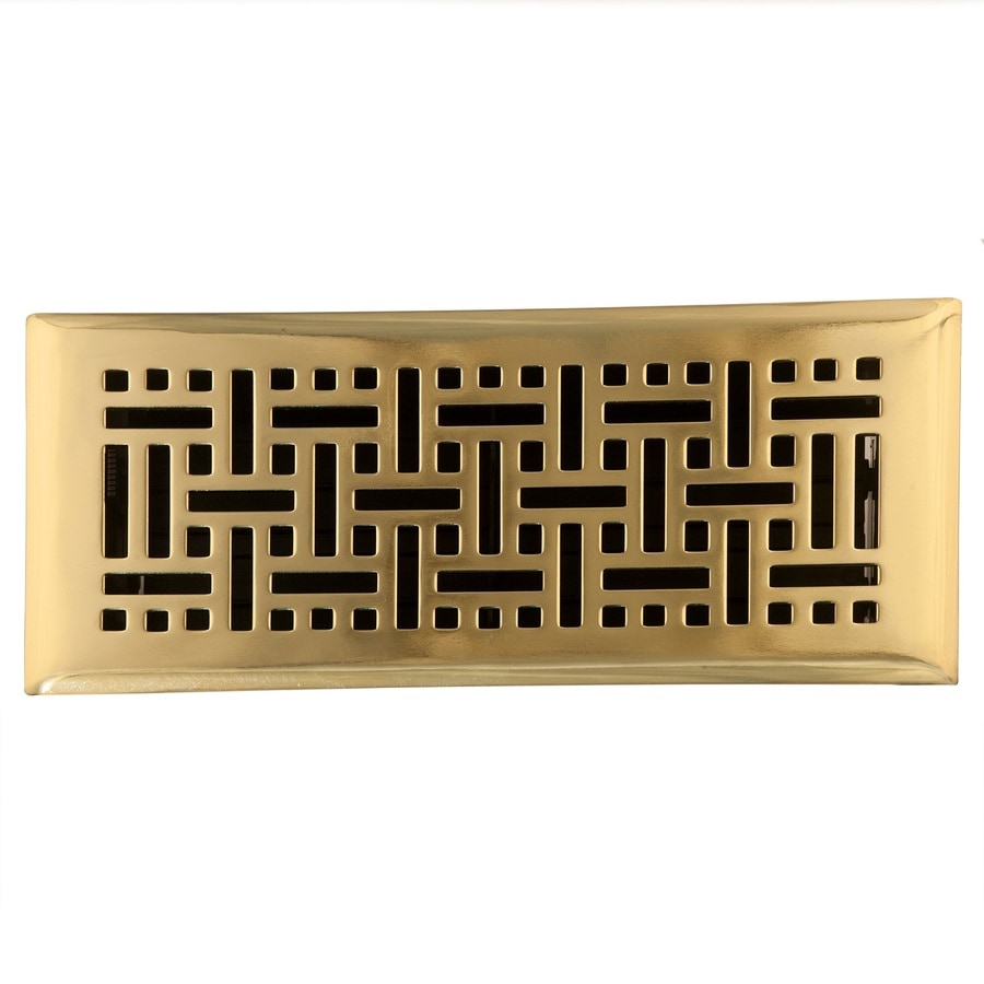 Accord Select Wicker Polished Brass Steel Floor Register (Rough Opening: 10.0-in x 4.0-in; Actual: 11.42-in x 5.37-in)
