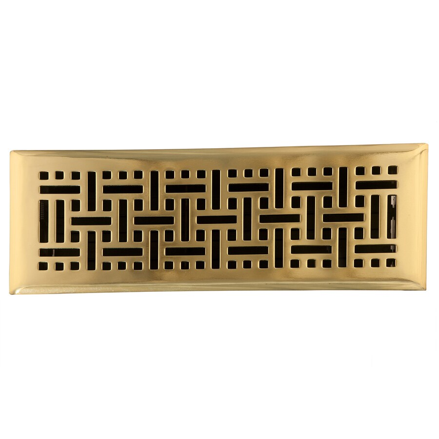 Accord Select Wicker Polished Brass Steel Floor Register (Rough Opening: 12-in x 4-in; Actual: 13.42-in x 5.37-in)