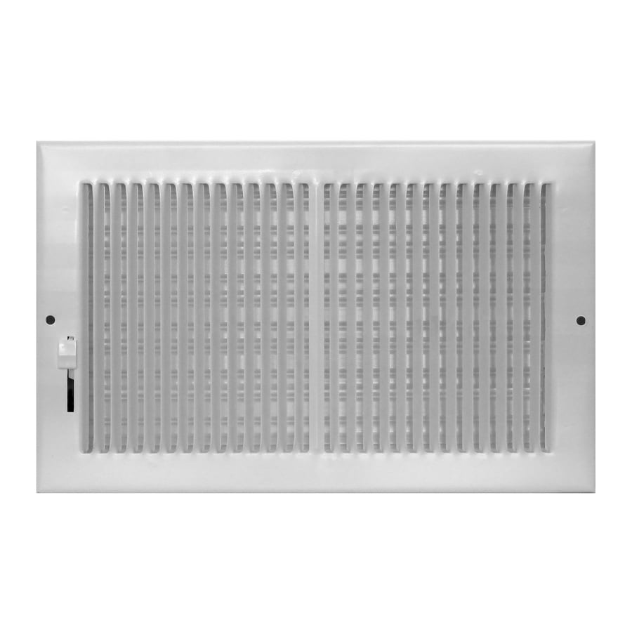 Accord Ventilation 190 Series White Steel Baseboard Register (Rough Opening: 6-in x 12-in; Actual: 13.22-in x 7.24-in)